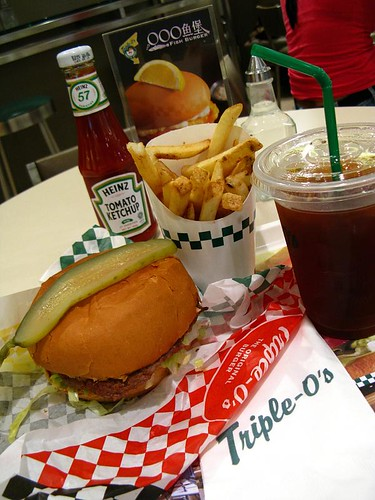 Basic burger with thick cut fries and iced lemon tea