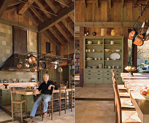 Napa Valley farmhouse country kitchen: 21-foot ceilings + terra-cotta tile + concrete counters