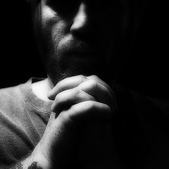 Pray (::big daddy k::) Tags: light shadow selfportrait me blackwhite hands pray project365 totw project3661 prayingtosomeone