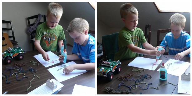 Sparky and Max start a Very Messy crafting project