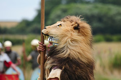 Roman Soldier Aquilifer with Lion-Skin Headdress, Ermine Street Guard, Kelmarsh Festival of History 2009 (Steve Greaves) Tags: red italy rome leather animal silver army gold march high italian ancient war uniform catchycolours dress arms eagle roman juliuscaesar military helmet battle event imperial conflict soldiers historical shield recreation rank armour period invasion reenactment troops romanempire reenactors authentic legion romans invading armoury reconstruction invaders cohort legionary headdress headwear headgear livinghistory reenacting warfare englishheritage headress kelmarsh erminestreetguard battledress standardbearer lionskin kelmarshhall paxromana signifer nikond300 aquilifer fightingforce 43ad imagebearer