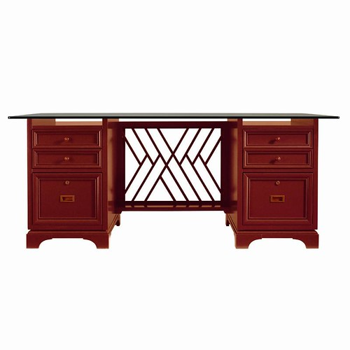 Stanley Furniture Continuum Lacquer Glass Top Desk