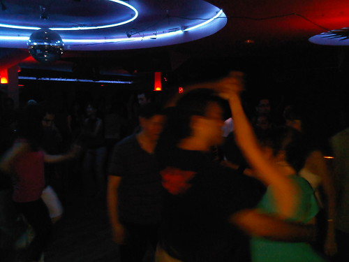 Salsa dancing inside Club Cache