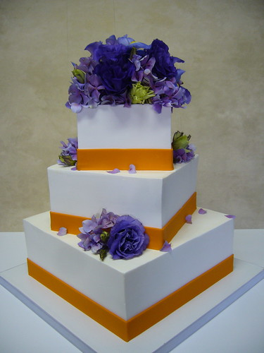 Purple Orange wedding cake Square offset buttercream exterior