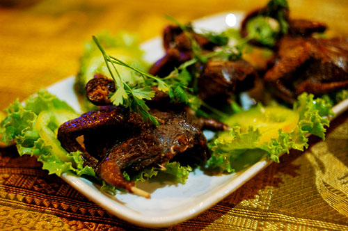 Deep-fried pigeons at New Chiep Sok, a restaurant in Siem Reap, Cambodia