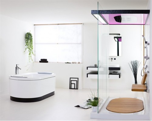 Relax Your Body in Bathing with Contemporary Bathroom Set with Natural Touch