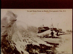a1747 (Providence Public Library) Tags: ice narragansett postcardcollection narragansettpier narragansettpierri rhodeislandimages pc7487 snowsceneonbeach