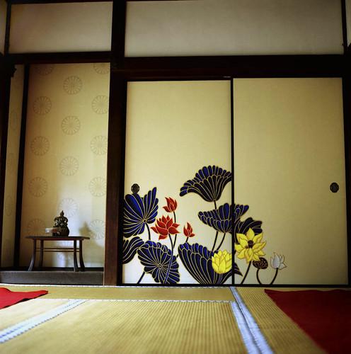 襖絵:蓮 Lotus flower