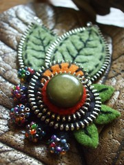 Some new work (woolly  fabulous) Tags: green wool pin recycled buttons brooch felt zipper embroidered ecofriendly