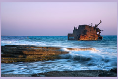 Akrotiri ship wreck sunset (-Filippos-) Tags: sea coast rust waves cyprus wreck cipro zypern shio akrotiri chypre  kipr