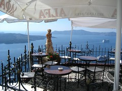 Santorini, Greece - Fira (Sue L C) Tags: restaurant santorini greece caldera cyclades fira paliakamenibar
