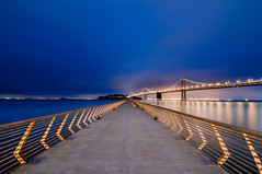Dawn is the New Dusk (kaoni701) Tags: sf sanfrancisco california longexposure morning bridge blue lines night sunrise dawn am nikon dusk wideangle tokina promenade baybridge embarcadero bayarea boardwalk ferrybuilding eastbay 28 alameda vanishing uwa converging 1116 pier14 explored peir14 d300s tokina1116mmf28