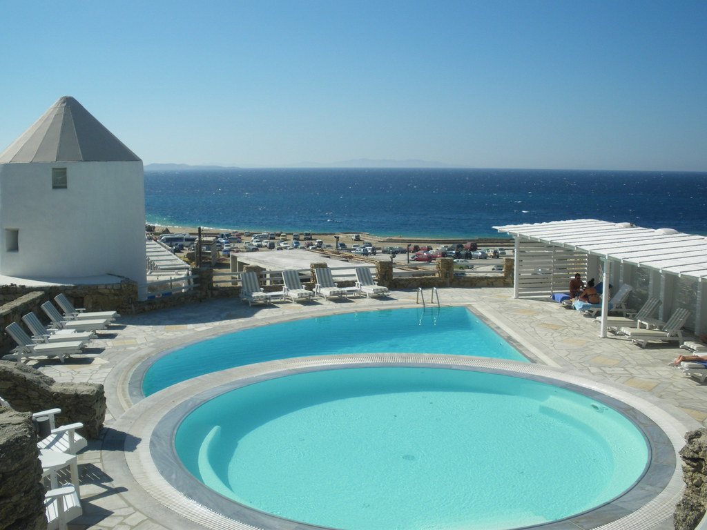The pool overlooking the sea at the Porto Mykonos - a member of the Small Luxury Hotels of the World - in Mykonos Town ( October 2009 ).