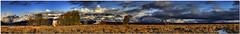 Grand Tetons Panorama (PGornell) Tags: morning autumn snow fall clouds barn sunrise peak grandtetons cloudcover mountiains mormonrow moultonbarn grandtetonspanorama