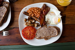 full english behind enemy lines (lomokev) Tags: food breakfast canon tomato mushrooms eos bacon beans tea folk egg knife sausage plate 5d friedegg orangejuice fryup fullenglish canoneos5d shotonhscourse file:name=091014eos5d8536