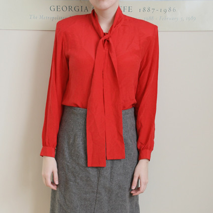 Red Silk Tie-Front Long Sleeve Secretary Blouse
