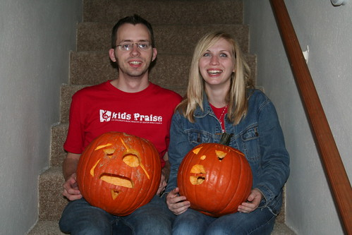 Jamie and Adam with pumpkins