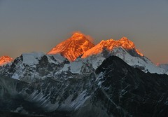 Sunset on Everest as seen from Gokio Ri (Oleg Bartunov) Tags: