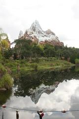 Reflections of Everest (Cheesehead_Dave) Tags: mountain reflection reunion geotagged unitedstatesofamerica places disney disneyworld fl animalkingdom expeditioneverest mounteverest