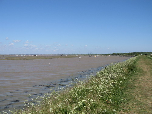 The backwaters at high tide, from the dyke around Naze Marine Holiday Park