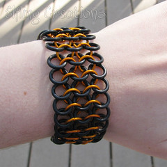 Orange and Black Stretchy Maille Bracelet