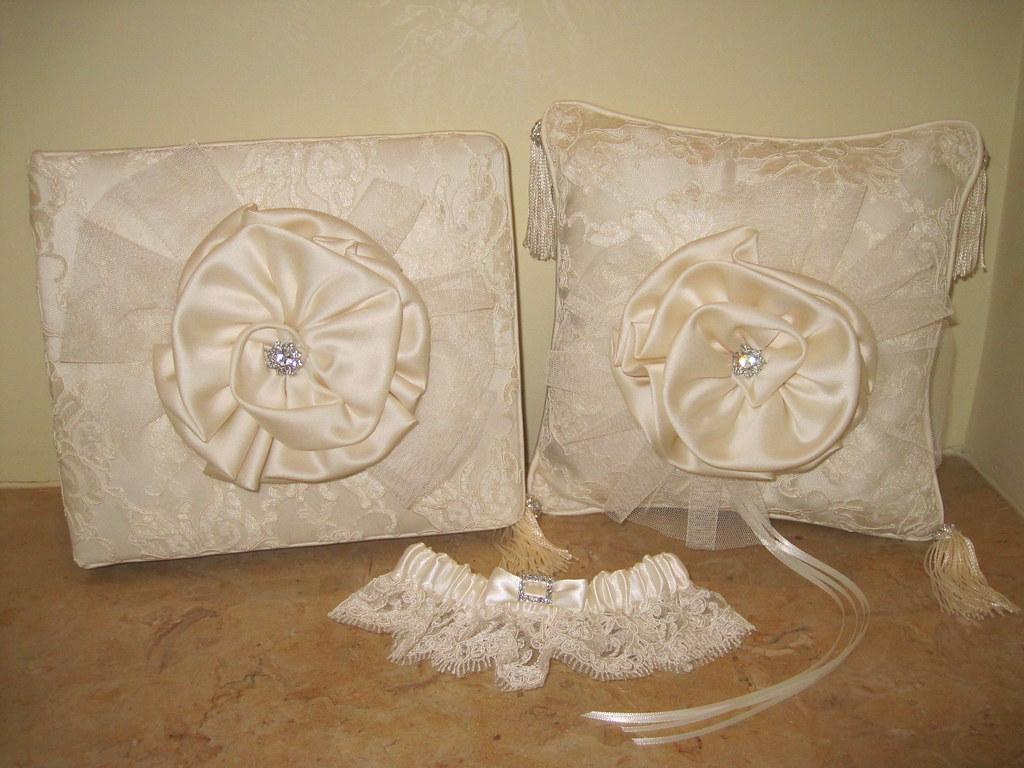 elegant couture lace ringbearer pillow, guestbook, flowergirl basket, garter