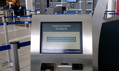 Touch screen for airline check-in