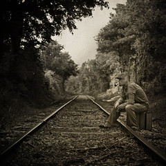 Just Waiting For My Train To Come In (evanleavitt) Tags: life road portrait white black love me rural train self ga vintage georgia happy parents is waiting darkness decay live south pipe tracks content rail rr well american when and americana miss suitcase learn traveler the taught my i not