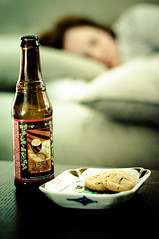 beer, cookies, sleep (poopoorama) Tags: beer cookies bokeh sleep margaret newbelgium nikkor50mmf14d 1554 nikond300 bokehwednesday 2009yip xpolaroidblue unwritten2009