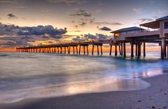 Dania Beach Pier HDR (asawaa) Tags: morning sky beach nature topc25 topv111 clouds sunrise landscape dawn pier timelapse seaside surf florida miami topc50 shore seashore southflorida daniabeach flickrsbest southfloridasky daniabeachpier