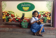 School (Elishams) Tags: street school india color girl fruits poster colorful uniform child juice indian tamilnadu pondicherry southindia  puducherry