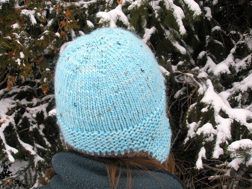 Earflap hat back view