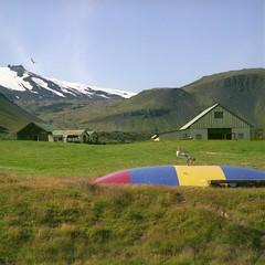 RH10 (peterbaker) Tags: mountain bird field barn iceland kid honeymoon village trampoline arnarstapi island orp