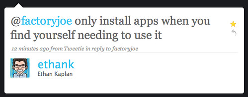 Twitter / Ethan Kaplan: @factoryjoe only install a ...