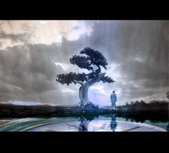 Past (h.koppdelaney) Tags: life light shadow art digital photoshop leaving energy symbol time buddha magic monk buddhism philosophy zen mind future thinking duality meditation behind wisdom presence metaphor past consciousness mystic psyche zeit symbolism psychology archetype vergangenheit denken chronos visiongroup memoriesbook tantrayana
