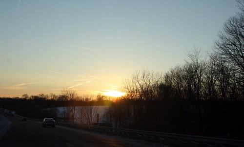 Sunset on I-71 between Cleveland and Columbus
