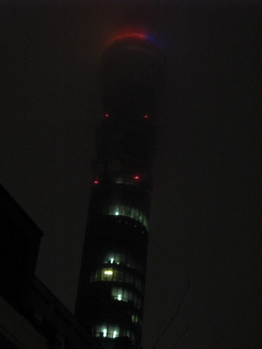 BT Tower on Dark Stormy Night