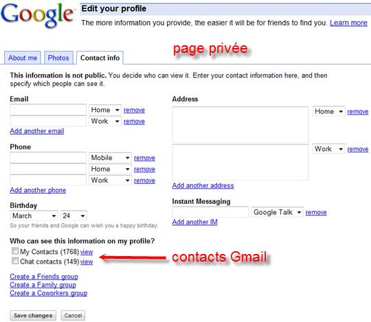 google profil contact
