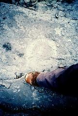 More than a foot wide... (Trapac) Tags: uk blue autumn england film beach boot foot fossil xpro crossprocessed rocks leg olympus slidefilm xa2 ammonite agfa olympusxa2 jurassic fossils foreshore bridgwater 100iso assi ctprecisa precisa wmh bluelias agfactprecisa kilve olympusxa2roll8 oilbearingshale yellowlias brownlias areaofspecialscientificinterest quantockareaofoutstandingnaturalbeauty aonb1957 gtyap1711