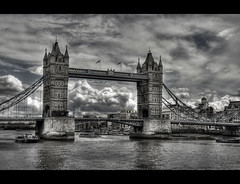 Tower Bridge of London (vgm8383) Tags: bridge england bw london tower thames towerbridge river blackwhite suspension towers explore riverthames soe hdr tweet londontowerbridge bascule abigfave basculeandsuspensionbridge