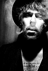 Holy Smoke (Wayne Holland) Tags: portrait bw man hat ink smoking richie