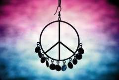 "...hear the angels cry ""Lord, where is the peace"" (Stephen.James) Tags: pink blue color colors colours peace purple bokeh circles deep peacesign earing dangly hbw exploredwouldbenice"