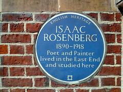 Photo of Isaac Rosenberg blue plaque