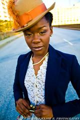 APG - The Church Lady (BlazinBajan) Tags: bridge atlanta woman girl hat closeup pose necklace model pretty feather pearls jacket purse esp mbp apg malika elliottstreet elliottstreetpub majorbphotography apg042109