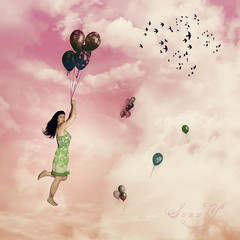 ~Nobody can be uncheered with a balloon~ (Pink Pixel Photography (f.k.a. Sunny)) Tags: selfportrait balloons pinksky hppt happyprettypinktuesday quiteaneasyoneformed fakehairagainp thisweeksthemeballoon
