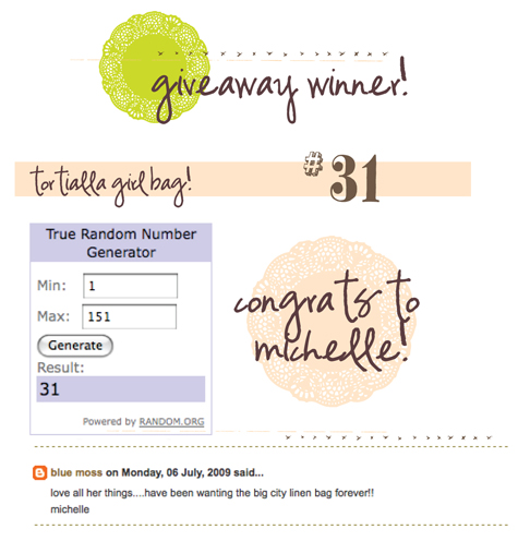 giveaway: winner