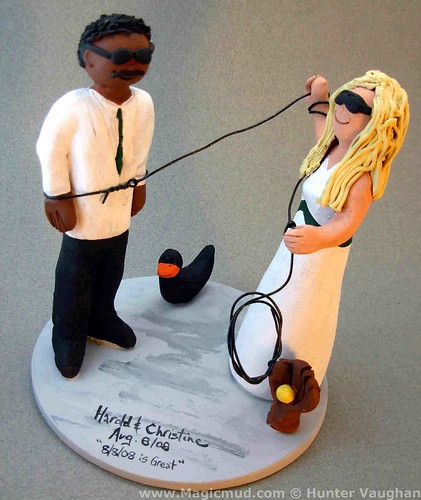 Bride Ropes Groom Wedding Cake Topper