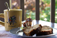 121/365 Slinky's enjoying Banana bread and Coffee (BarbaraCZ) Tags: dog coffee breakfast toy 50mm bokeh slinky lifeisgood canonrebelxt bananabread oneobject365daysproject 365toyproject beyondbokeh july2509