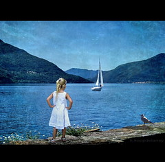 Waiting for the Sailor (h.koppdelaney) Tags: world life blue summer holiday seascape art nature childhood digital photoshop freedom energy peace child friendship heart symbol spirit path joy happiness philosophy inner creation fantasy harmony imagination sailor quest metaphor bliss visual ideas optimism psyche symbolism psychology archetype hourofthesoul