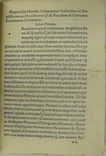Opening page of Platina, Bartholomaeus: De honesta voluptate et valetudine